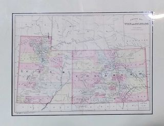 County Map of Utah and Colorado. William M. Bradley