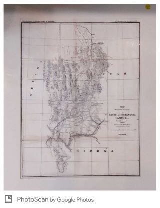 Map Prepared to Accompany the Lists of Distances, Camps, Etc. Field Season of 1872. 1st. Lieut....