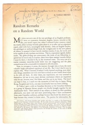 Random Remarks on a Random World (Reprinted from The Western Humanities Review, Vol. XV, No. 1,...