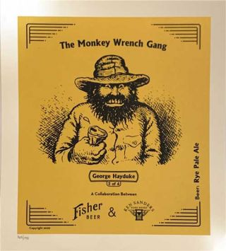 """George Hayduke"" Rye Pale Ale Commemorative Monkey Wrench Gang Beer Poster"