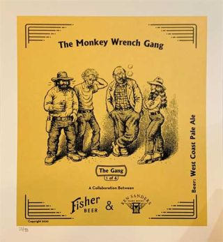 """The Gang"" West Coast Pale Ale Commemorative Monkey Wrench Gang Beer Poster"