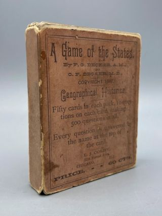 A Game of the States. F. G. Decker, O. F. Decker, Vintage Card Game