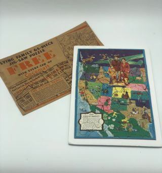 The Flying Family. Puzzle Map, Western United States, Aviation, Advertising