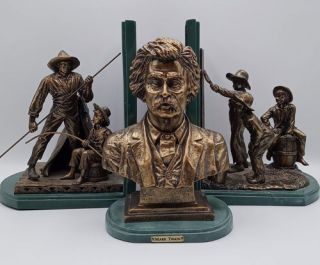 Facsimile First Editions (15 Volumes) with two bookends and Mark Twain Sculpture
